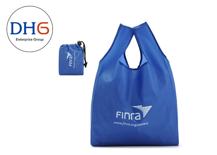 Utility Blue Polyester Tote Bags Silk Screen Printed 28*40cm Dust Proof Hot Stamping
